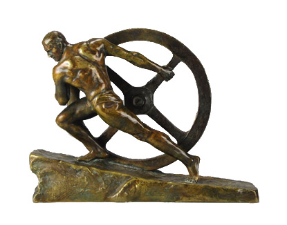 Image of a bronze sculpture of a muscular man moving a heavy wheel - strength and balance in harmony